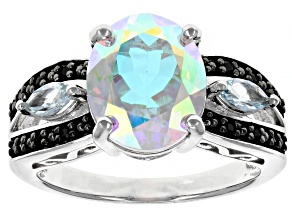 Mercury Mist(R) Topaz Rhodium Over Silver Ring 4.21ctw