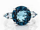 London blue topaz rhodium over silver 3-stone ring 7.46ctw