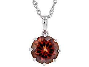 Red labradorite rhodium over silver solitaire pendant with chain 3.56ct