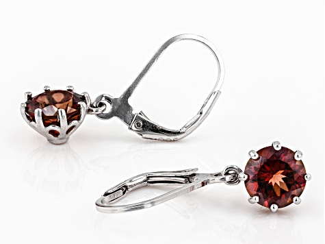 Red labradorite rhodium over sterling silver dangle earrings 1.94ctw