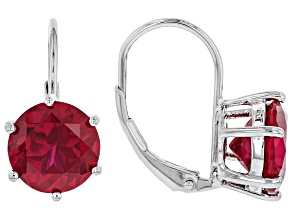 Red Lab Created Ruby Rhodium Over Sterling Silver Earrings 5.95ctw