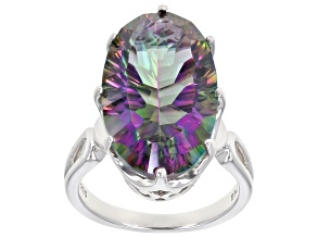 Multi-color quartz rhodium over silver ring 10.80ctw