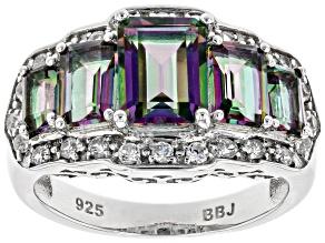 Multi-color quartz rhodium over silver ring 3.16ctw