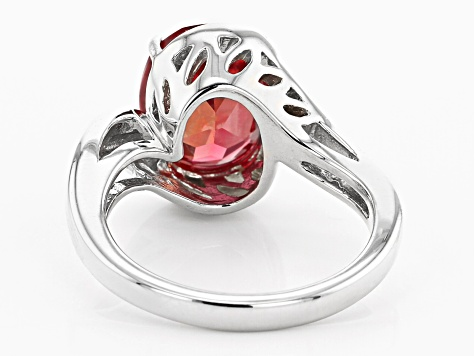 Orange lab created padparadscha rhodium over  silver ring 4.16ct