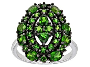 Green Russian Chrome Diopside Rhodium Over Sterling Silver Ring 2.38ctw