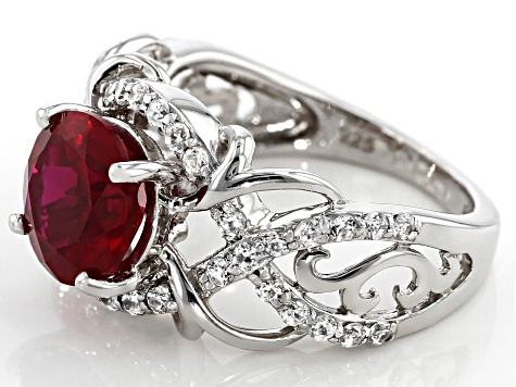 Red lab created ruby rhodium over sterling silver ring 3.66ctw