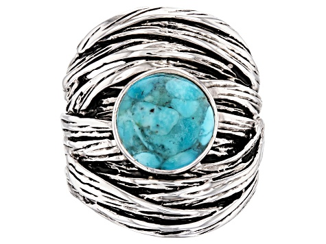 Blue Turquoise Rhodium Over Sterling Silver Ring