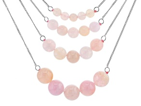 Pink morganite bead silver 4 layer necklace