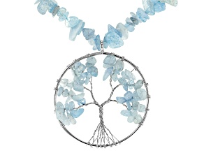 Blue aquamarine chip sterling silver Tree of Life pendant necklace