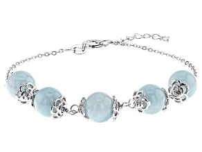 Blue aquamarine rhodium over sterling silver bracelet 21.60ctw