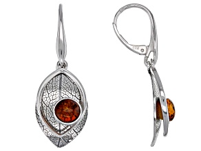 Orange amber rhodium over silver dangle leaf earrings