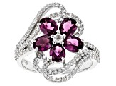 Purple rasberry color rhodolite rhodium over silver ring 2.83tw