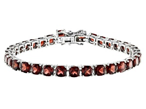 Red garnet rhodium over silver bracelet 25.17ctw
