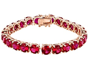 Red lab created ruby 18k rose gold over silver bracelet 38.25ctw