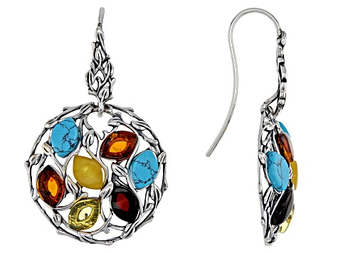 Mixed color amber antiqued sterling silver dangle earrings