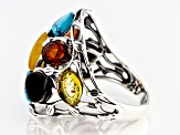 Mixed color amber antiqued sterling silver ring