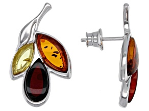 Mixed color amber rhodium over sterling silver leaf earrings