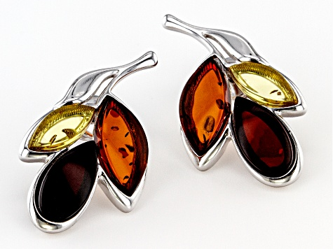 Multi color amber rhodium over sterling silver leaf earrings