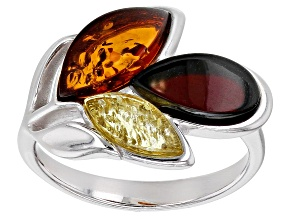 Mixed color amber rhodium over sterling silver leaf ring