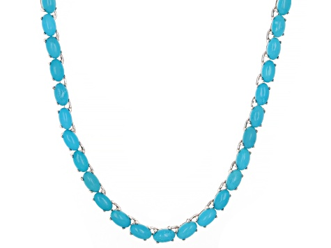 Blue Turquoise Rhodium Over Silver Tennis Necklace