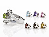 Mixed Interchangeable Gems Rhodium Over Silver Ring Set 6.11ctw