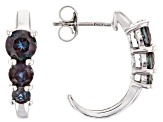Blue lab created alexandrite rhodium over silver earrings 1.74ctw
