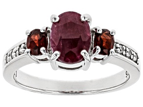 Red ruby rhodium over sterling silver ring 1.88ctw