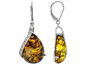 Orange amber rhodium over sterling silver earrings