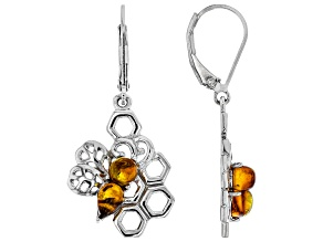 Orange amber rhodium over sterling silver dangle earrings