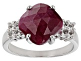 Red Ruby Rhodium Over Sterling Silver Ring 4.32ctw