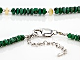 Green Emerald Bead Rhodium Over Sterling Silver Necklace