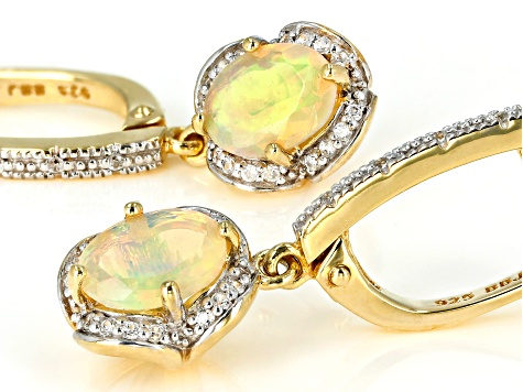 White Ethiopian opal 18k yellow gold over silver dangle earrings 1.47ctw