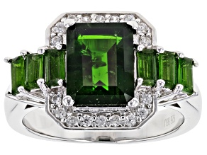 Green chrome diopside rhodium over silver ring 2.79ctw