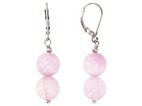 Pink kunzite bead sterling silver earrings