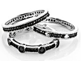 Black Spinel Rhodium Over Silver Set of 3 Band Rings 1.25ctw