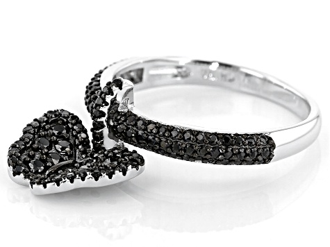 Black Spinel Rhodium Over Silver Ring .86ctw