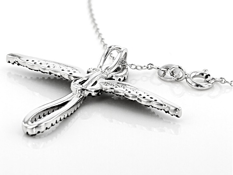 Black Spinel Rhodium Over Silver Cross Pendant With Chain .94ctw
