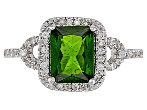 Green chrome diopside rhodium over sterling silver ring 1.74ctw