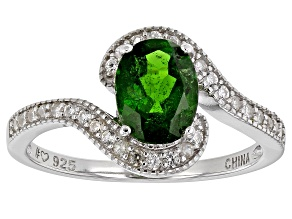 Green chrome diopside rhodium over sterling silver ring 1.47ctw