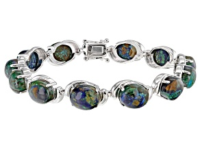 Blue Azurmalachite Rhodium Over Silver Bracelet