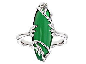 Green onyx rhodium over sterling silver ring 3.32ctw