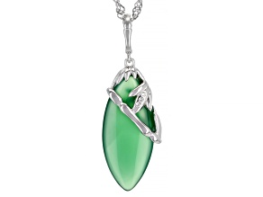 Green Onyx Rhodium Over Silver Pendant With Chain .02ctw
