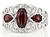 Red Garnet Rhodium Over Sterling Silver Ring 2.08ctw