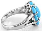 Blue Turquoise Rhodium Over Silver Ring