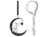 Black Spinel Rhodium Over Silver Crescent-Moon, Cat & Star Dangle Earrings .57ctw
