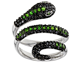 Green chrome diopside rhodium over silver snake ring 1.46ctw