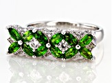 Green chrome diopside rhodium over sterling silver ring 1.56ctw