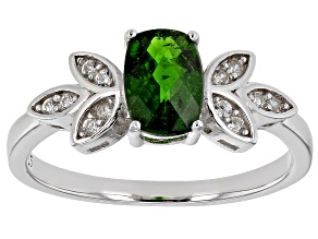 Green chrome diopside rhodium over sterling silver ring .94ctw