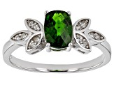 Green chrome diopside rhodium over sterling silver ring 0.94ctw