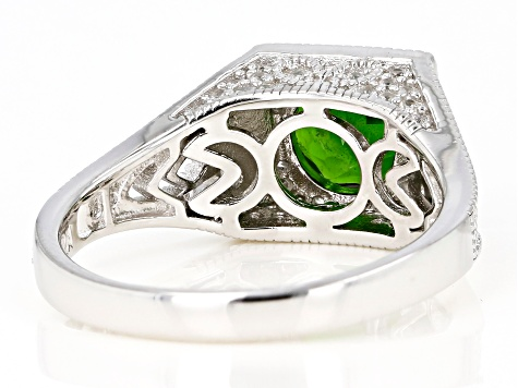 Green chrome diopside rhodium over sterling silver ring 1.68ctw